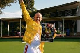 Photo of John Wood as Freddie Mercury
